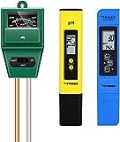 VIVOSUN PH Meter, TDS and EC Meter, and 3-in-1 Soil Moisture Tester Combo