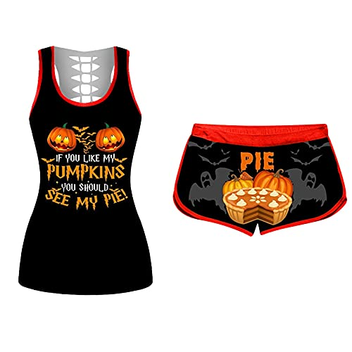 LYMHGHJ Conjunto de Camiseta sin Mangas sin Mangas de Halloween para Mujer, si te Gustan mis Pantalones Cortos con cordn con Estampado de Calabaza, Trajes de Fondo elstico