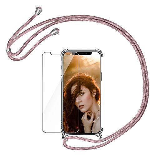 AROYI Funda con Cuerda Compatible con iPhone X XS y Protector Pantalla, Carcasa Transparente TPU Silicona Case con Colgante Ajustable Correa de Cordón Compatible con iPhone X XS, Oro Rosa