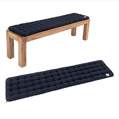 HAVE A SEAT Luxury - Bankauflage für Sitzbank, bequemes Bank Sitzpolster, waschbar bei 95°C, Pflegeleichte Sitzauflage, Made in Germany (180 x 40 cm, Marine-Blau)