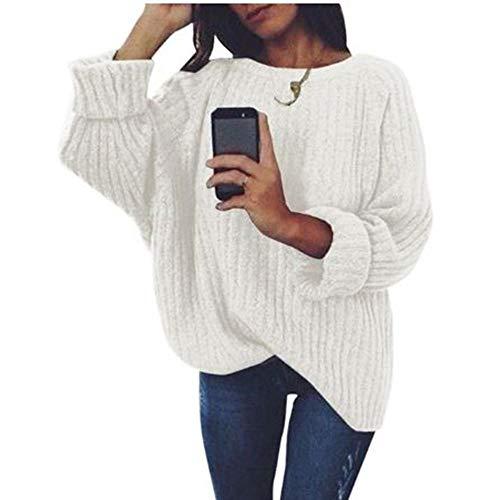 XXYQ Pullover vrouwen Solide O Neck gebreide trui herfst winter mode vrouwelijke trui gebreide goederen dames losse breiwaren, XL