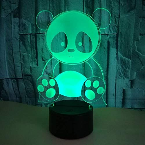 3D Panda Night Light 7 Colors Changing USB Power Touch Switch Decor Lamp Optical Illusion Lamp LED Table Desk Lamp Christmas Brithday Children Kids Gift