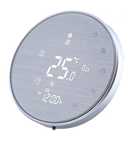 Qiumi Termostato Wifi para calefacción individual de calderas de gas/agua funciona con Amazon Alexa, Google Home IFTTT, Contacto seco 5A 95~240V,Innovación Panel cepillado