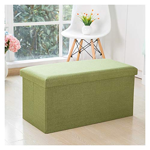 Storage Ottoman Folding Portable Storage Footstool 30 X 30 X 30 cm Sturdy Foldable Foot Stool Box Bench with Removable Lid, Orange Storage Ottoman Footrest (Color : Green, Size : 783838)
