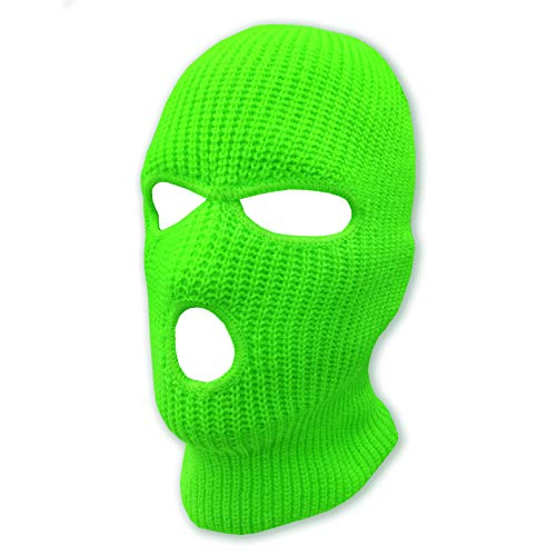 3 Hole Beanie Face Mask Ski - Warm Double Thermal Knitted - Men and Women (Neon Green)