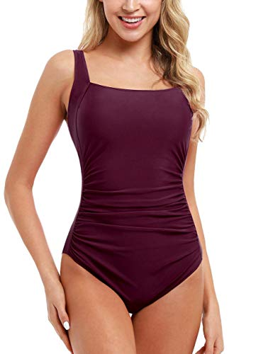 Firpearl Women's One Piece Bathing Suits Ruched Tummy Control Plus Size Swimwear 6 Burgundy-3