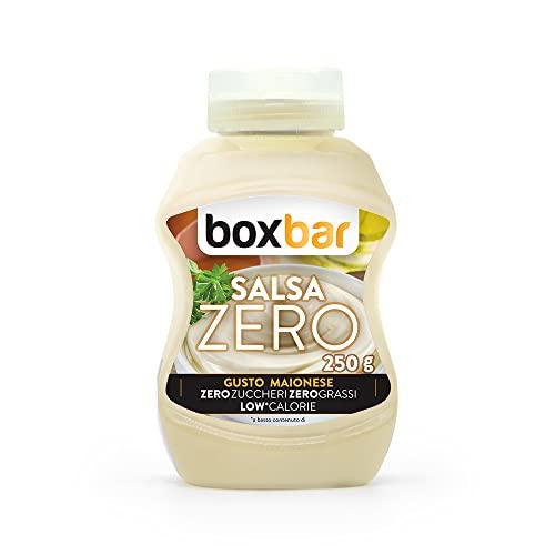 BoxBar salsa Maionese zero, a basso contenuto di calorie, zuccheri e zero grassi. Senza glutine e vegetariana (1 Flaconi da 250g)
