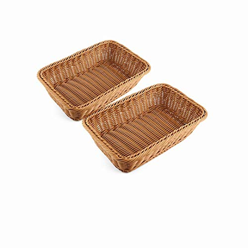 2pcs 11.8'Rectangle Imitation Rattan bread basket, woven tabletop and vegetable serving basket, restaurant service, brown