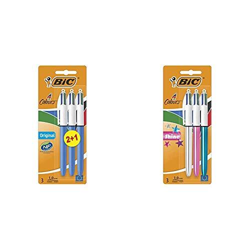 BIC 4 Original Bolígrafos Retráctiles Punta Media (1,0 mm) - Surtidos, Blíster de 2+1 - Tinta negra, azul, roja, y verde + 4 Shine Bolígrafo Retráctil punta media (1,0 mm)