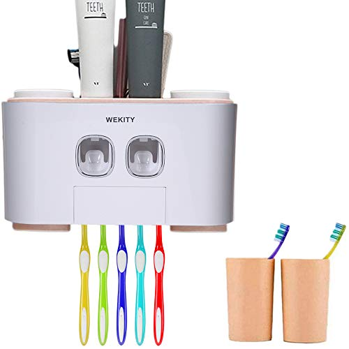 Wekity Toothbrush Holder Multifunctional Wall-Mounted Space-Saving Toothbrush and Toothpaste Squeezer Kit with Dustproof Cover, 5 Toothbrush Slots, 2 Automatic Toothpaste Dispenser and 4 Cups (Pink)