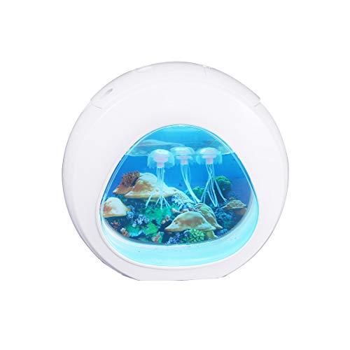 Uonlytech LED Quallen Aquarium Nachtlicht Mini Dekorative Kreative Bunte Desktop Lampe Licht (Weiß)