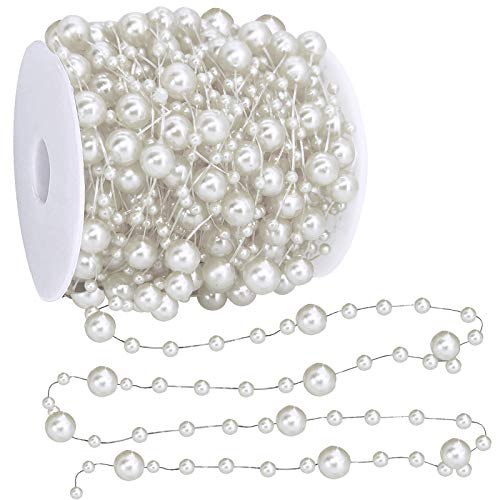 TURNMEON 66 Feet Christmas Beads Garland Decoration 2 Sizes Pearl Strands Chain for Christmas Tree Decoration Indoor Outdoor Home Mantle Fireplace Holiday Decor (Silver)