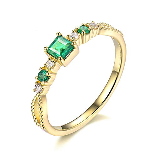 Beydodo Anillos Boda Mujer,Anillo Mujer Oro Amarillo 18K Oro Verde Cuadrado Esmeralda Verde 0.4ct Diamante 0.1ct Talla 25(Circuferencia 65MM)
