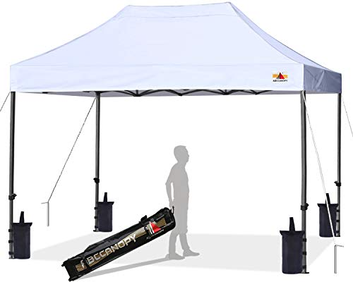 ABCCANOPY Pop up Canopy Tent Commercial Instant Shelter with Wheeled Carry Bag, Bonus 4 Canopy Sand Bags, 10x15 FT (White)