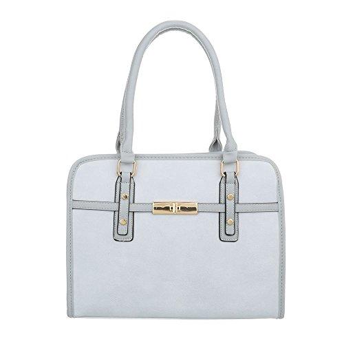 Ital-Design Damen-Tasche Mittelgroße Schultertasche Handtasche Kunstleder Hellblau TA-K685