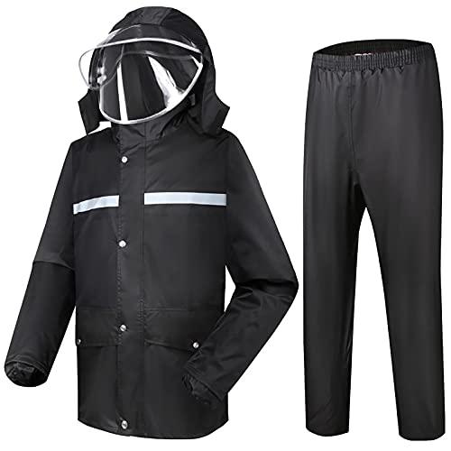 MINGJ Uomo Tuta Impermeabile Giacca Pantaloni, Antipioggia Moto 100% Impermeabile Traspirante Tuta Antipioggia Riflettente, Nero(XXXXL,Black)