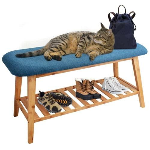 Banco zapatero acolchado de madera con zapatero, color azul, 70,1 cm, cómodo para ponerse los zapatos