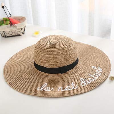 xuyang Sombrero de paja de verano para mujer con diseño de letra 2021, para mujer, sombrero, playa, color café, tamaño: 55-58 cm