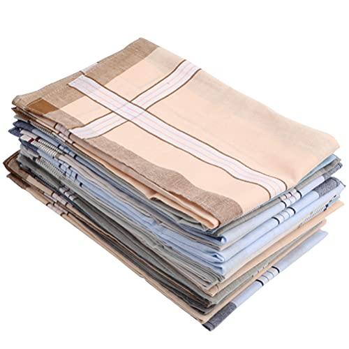 TIMESETL 20Stück Herren Taschentücher Baumwolle Stofftaschentücher 38 x 38cm Herren Stoff Taschentücher in weiß, Große Einstecktücher Herrentaschentücher für Männer