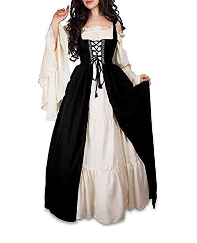 Mythic Renaissance Medieval Irish Costume Over Dress & Cream Chemise Set (Small, Black)