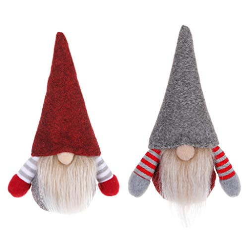 Acecy 2Pack Christmas Gnome Decorations, Handmade Gonk Elf Christmas Tree Ornament Guard for Xmas Home Table Decor, Swedish Santa Plush Doll Hanging(Grey and Red)