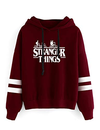 KIACIYA Sudadera Stranger Things Mujer, Sudadera Stranger Things Niña Suéter Unisex Hombres Chicas Deporte Béisbol Casual Impresión Sudadera con Capucha Stranger Things Suéter Jersey (Red-White,S)