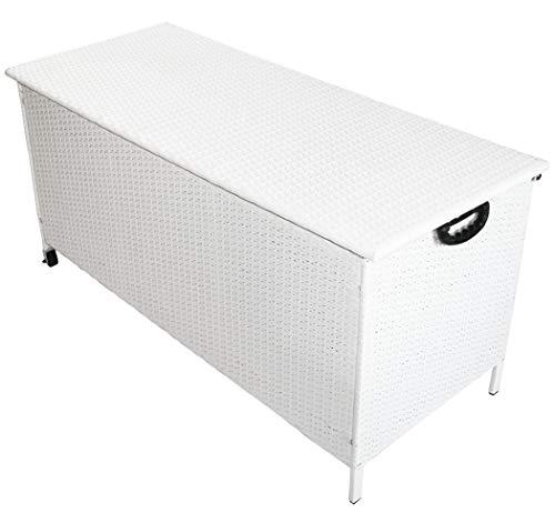 KMH®, Kissentruhe / Kissenbox mit Rollen 132,5x56x65 cm aus weissem Polyrattan (4 String) (#106180)