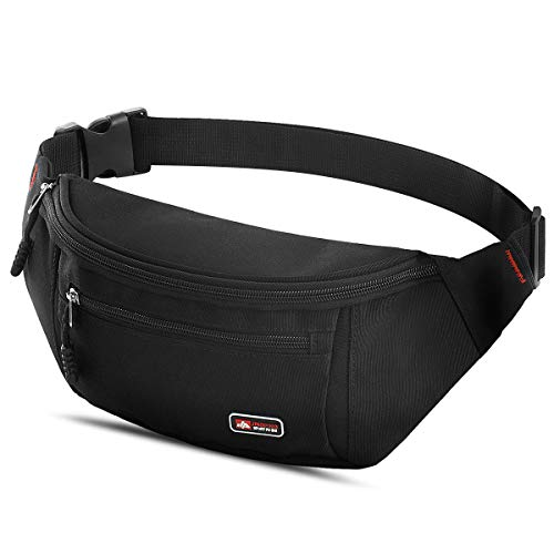MOBIUSPHY Bum Bag Waist Pack Big Waist Bag Large Capacity Fanny Packs for Women Men Belt Bag 3 Pockets for Walking Holidays Hiking Cycling Running Outdoor Sport Mountain Black