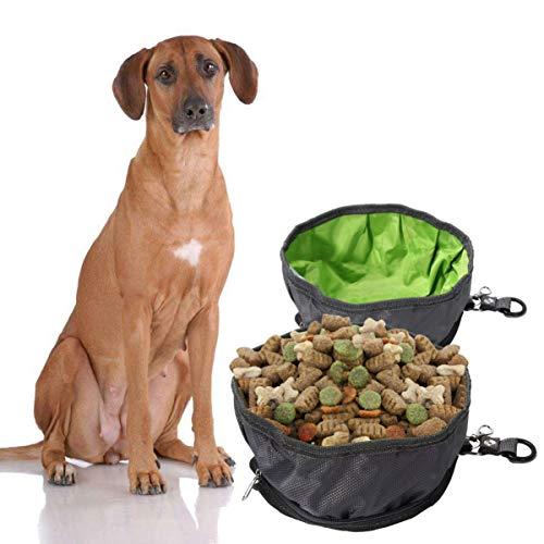 POPETPOP Juego de 2 cuencos de viaje para perros, portátiles plegables para mascotas, con cremallera, para camping, exterior, senderismo