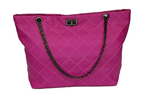 EXACT SELLER - Handtasche/Damenhandtasche/Shopper/Steppmuster/City Bag/Mädchen/Vintage/PU-Leder/pink