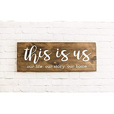 Dark Walnut This Is Us Wood Sign, Modern Farmhouse Style Wooden Wall Decor
