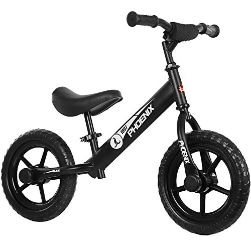 MEETGG Bicicleta de equilibrio de acero al carbono marco sin pedal, bicicleta de entrenamiento, altura ajustable del asiento, para niños