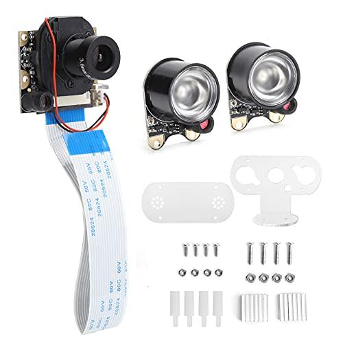 Fdit Módulo de cámara, módulo de cámara HD de 5MP IR-Cut Conmutación automática con luz infrarroja para Raspberry Pi, con Soportes y Accesorios de Tornillos(OV5647)