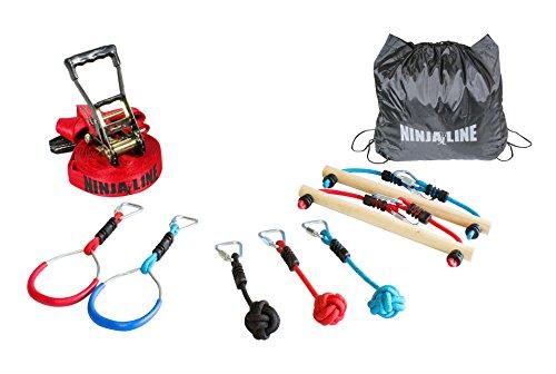 Slackers USA Ninja Line Starter Set, 11 Meter Hangelparcour, tolles 11-teiliges Komplettset, auch als Slackline nutzbar, mit 7 Hindernissen, trainiere wie ein Ninja, 980020