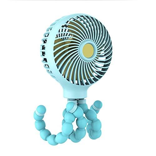 ADLOASHLOU Mini Ventilador PortáTil para Cochecito, con Pilas Recargables, Ventilador con Clip De Mano Personal PequeñO USB, 3 Velocidades para Mesa De Coche De Bebé, Dormitorio Hogar HabitacióN Blue