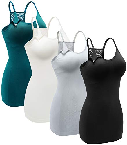 Women's Nursing Tank Top Cami Maternity Bra Breastfeeding Shirts with Lace Back Color Black Grey Green White Size S Pack of 4