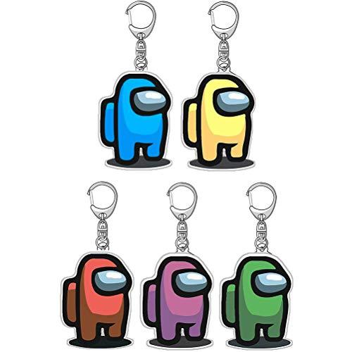 Llaveros Among Us, 5 piezas de personajes de acrílico colorido regalo mini llavero de decoración accesorios