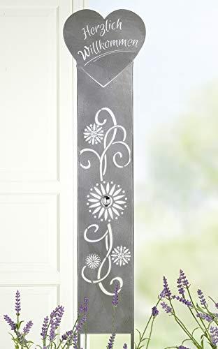 Bavaria Home Style Collection- Stecker Herzlich Willkommen antik Silber, mit Edelstahlkugel Metall - Moderne Gartenskulptur Gartenfigur - auch als Innendeko einsetzbar