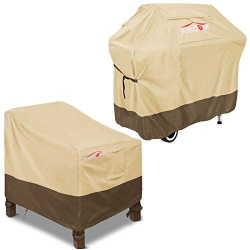 Patio Chair Covers Medium 30' W with BBQ Grill Cover 72' W, 600D Heavy Duty Waterproof Patio Furniture Cover with Air Vents for All Weather, Fade-Resistant (Khaki, Brown)