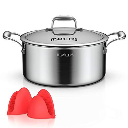 ITSMILLERS Premium Tri-ply Stainless Steel Stock pot with lid, 7-Quart Harm Free Dutch Oven with Silicone Oven Mitts,Oven Safe up to 500°F