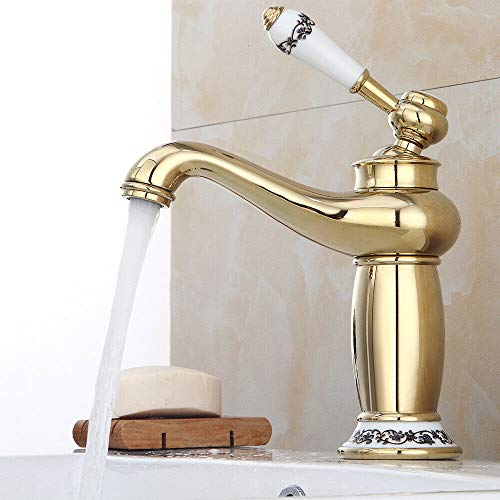 WUPYI2018 Mischbatterie Wasserhahn Bad Armatur Waschtischarmatur Waschbeckenarmatur Einhebelmischer Badarmatur Vintage Waschbecken Mischbatterie für Küche Bad (Gold)