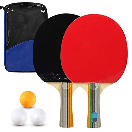 Ping Pong Paddle Pong Pong Raquetas de tenis de mesa de calidad 2 paletas de ping pong, juego de raquetas largas de mango corto para mayor control de potencia de giro (tamaño: L; Color: Azul)