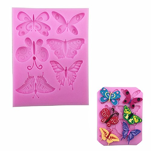 Dosige Moule à Cake en Silicone Fondant Gâteau Décoration Outils Moule Rose Thème D'insecte Naturel Bricolage Papillon Libellule Coccinelle Ustensiles de Cuisson