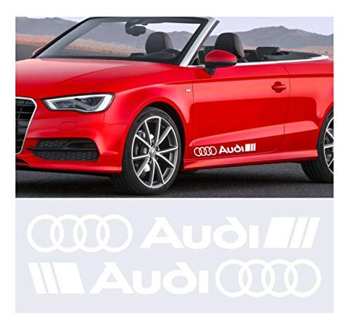 Kit Adesivi Stickers A1 A3 A4 A5 A6 Q2 ECC. -2 Adesivi Tuning Auto- Scegli SUBITO Colore- Car Kit n.2 cod.0502 (Bianco cod. 010)