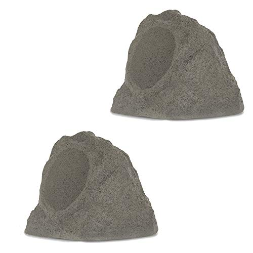 Theater Solutions by Goldwood B63GR Wireless Rechargeable Bluetooth Outdoor 6.5 Inch Rock Speaker System – Slate Gray, Set of 2, 200 Watts