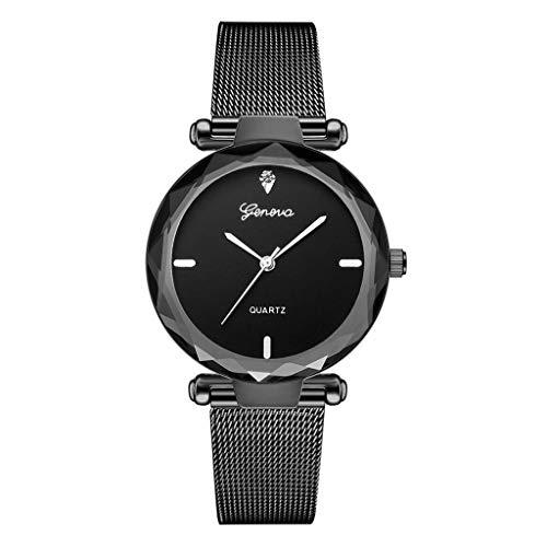 Relojes Para Mujer Moda Mujeres Reloj Cinturón de malla de acero inoxidable Mira Ladies Watch Lado de Diamante Side Ginebra Moda Watc Watc Reloj Mujer Reloj de cuarzo Relojes Decorativos Casuales Para
