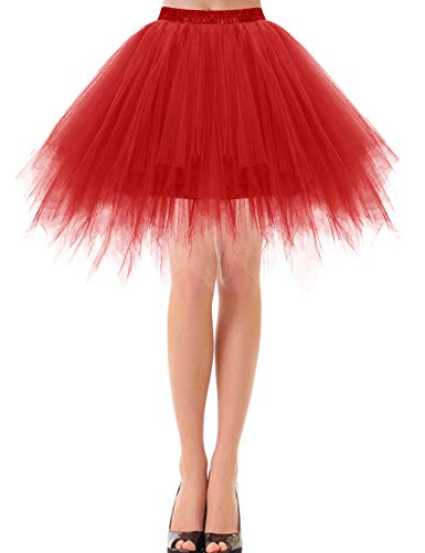 Bbonlinedress Rock Damen Knielang Tüll Petticoat Unterrock lang Petticoat Kleid Rockabilly kurz schwarzRetro Tutu Ballet Tüllrock Crinoline Cosplay Red S