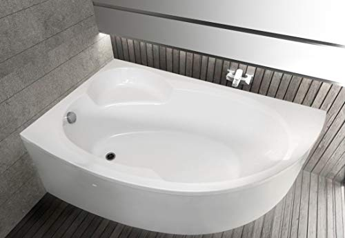 ECOLAM Badewanne Wanne Eckwanne Eckbadewanne Eck Carmen Acryl weiß 170x100 cm LINKS + Schürze Ablaufgarnitur Ab- und Überlauf Automatik Füße Silikon Komplett-Set