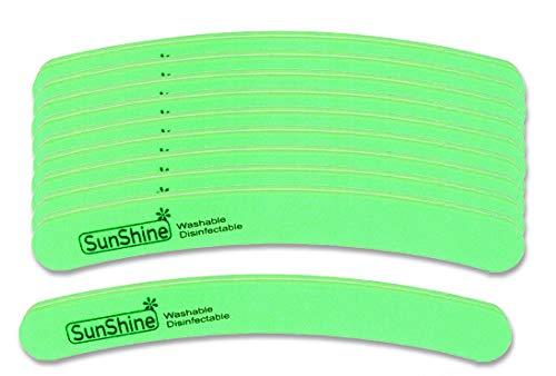 PROFICO 10 Stück Profi Nagelpuffer | Buffer Gebogen 180/240 | Doppelseitge Buffer Nagelfeile Schmirgel Boards | Feine Körnung | für natürliche Nägel Gel Nägel (Grün)