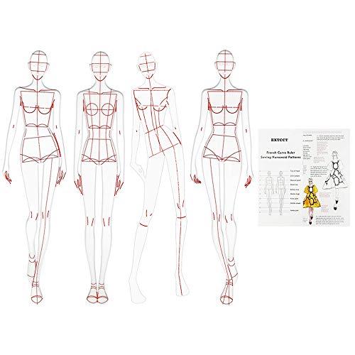 Regla de dibujo de moda de 4 piezas, regla de curva francesa, diseño de patrones humanoides de costura, medición de ropa, reglas de curva francesa, dibujo de borrador de papel de patrón A4